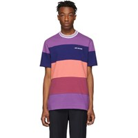 Aime Leon Dore Purple And Navy Striped Ribbed Collar T Shirt