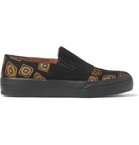 Dries Van Noten Faille And Jacquard Slip On Sneakers Black
