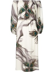 Tamara Mellon Peacock Feather Print Dress White