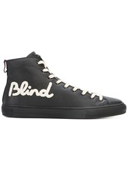 Gucci Blind For Love Hi Top Sneakers Men Leather Rubber 8.5 Black
