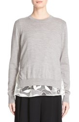 Grey Jason Wu Women's Lace Hem Merino Wool Pullover
