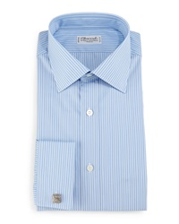 Charvet Striped French Cuff Dress Shirt Blue