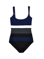 Tomas Maier Colour Block Scoop Neck Swimsuit