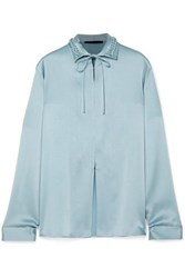 Haider Ackermann Tie Neck Braided Satin Blouse Blue