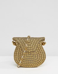 Park Lane Diamante And Metal Gold Cross Body Bag With Beaded Strap Gold