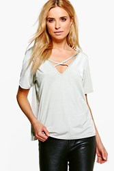 Boohoo Super Slinky Cross Front T Shirt Sage