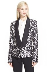 Women's Rachel Zoe 'Reid' Print Silk And Wool Tuxedo Jacket