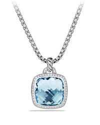 David Yurman Albion Pendant With Blue Topaz And Diamonds Silver