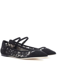 Dolce And Gabbana Lace Suede Ballerinas Black
