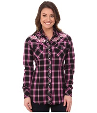 Rock And Roll Cowgirl Long Sleeve Snap B4s4464 Fuchsia Women's Clothing Pink