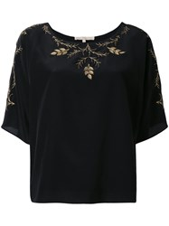 Vanessa Bruno Floral Embroidery Blouse Women Silk Polyester 36 Black