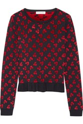 Altuzarra Clifton Ruffle Trimmed Jacquard Knit Sweater Black