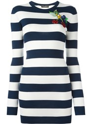 Dolce And Gabbana Striped Cherry Top Blue