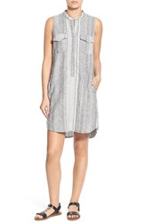 Blank Nyc Women's Blanknyc 'Out Of Spite' Sleeveless Linen And Cotton Shirtdress Grey