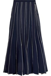Tory Burch Pleated Embroidered Silk Crepe Maxi Skirt Navy