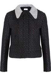 Carven Cropped Boucle Tweed Jacket Navy
