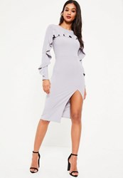 Missguided Grey Crepe Frill Long Sleeve Midi Dress