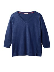 White Stuff Cactus V Neck Jumper Blue