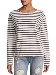 R 13 Cotton Distressed Breton Striped Tee Black White