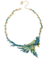 Betsey Johnson Gold Tone Blue And Green Pave Bird Statement Necklace
