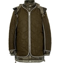 Sacai Layered Quilted Wool And Shell Parka Army Green