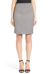 Women's Halogen Welt Pocket Pencil Skirt Black Ivory Tile Pattern