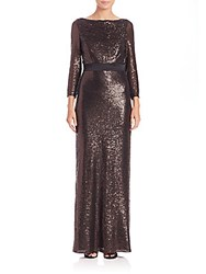 Abs By Allen Schwartz Sequin Long Sleeve Cutout Back Gown Bronze