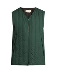 Marni Extended Hemline Down Filled Cotton Gilet Green