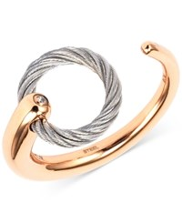 Charriol White Topaz Accent Two Tone Circle Cuff Ring In Stainless Steel And Rose Gold Tone Pvd Stainless Steel Two Tone