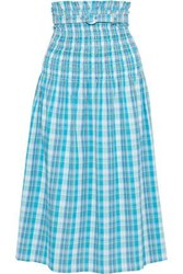 Nicholas Woman Belted Shirred Checked Crinkled Cotton Midi Skirt Turquoise