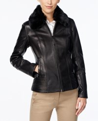 Jones New York Faux Fur Collar Leather Jacket Black