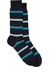 Richard James Men's Striped Mid Calf Socks Blue