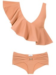 Amir Slama Ruffled Top Bikini Set Neutrals
