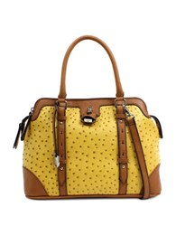 London Fog Lancaster Triple Vegan Leather Satchel Mustard