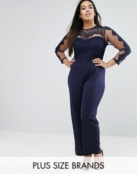 Club L Plus Jumpsuit With Lace Top Navy