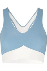 Heroine Sport Two Tone Ribbed Stretch Sports Bra Light Blue