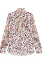 See By Chloe Pussy Bow Floral Print Chiffon And Silk Georgette Blouse Blush