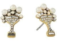 Marc Jacobs Charms Tropical Martini Studs Earrings Cream Antique Gold Earring