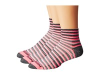 Wrightsock Coolmesh Ii Quarter Stripes 3 Pack Pink Black White Quarter Length Socks Shoes Multi