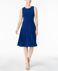 Charter Club Belted A Line Dress Created For Macy's Modern Blue