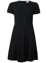 Red Valentino Pleated Placket Flared Dress Black