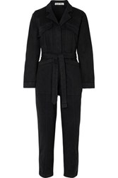Alex Mill Expedition Belted Stretch Tencel And Cotton Blend Twill Jumpsuit Black