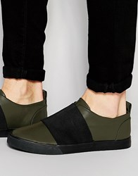 Asos Slip On Plimsolls In Khaki With Elastic Strap Green