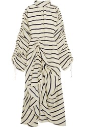 Preen By Thornton Bregazzi Hope Ruched Striped Washed Silk Midi Dress Ivory