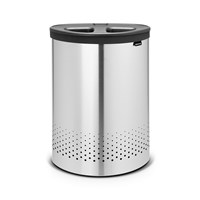 Brabantia Selector Laundry Bin 55 Litres Matt Steel With Dark Grey Lid