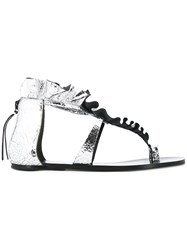 Isabel Marant Audry Sandals Women Goat Skin Leather 40 Metallic