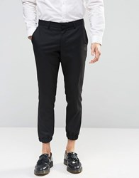 Selected Homme Cropped Skinny Fit Pants With Stretch And Cuffed Hem Black