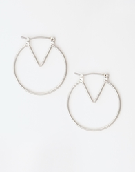 Whistles Wire Triangle Hoop Earrings Silver