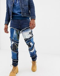 G Star X Jaden Smith Spiral Waterfall Patches 3D Slim Jeans Medium Aged Blue