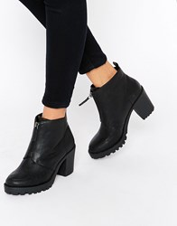 London Rebel Zip Front Chunky Heeled Ankle Boots Black Pu
